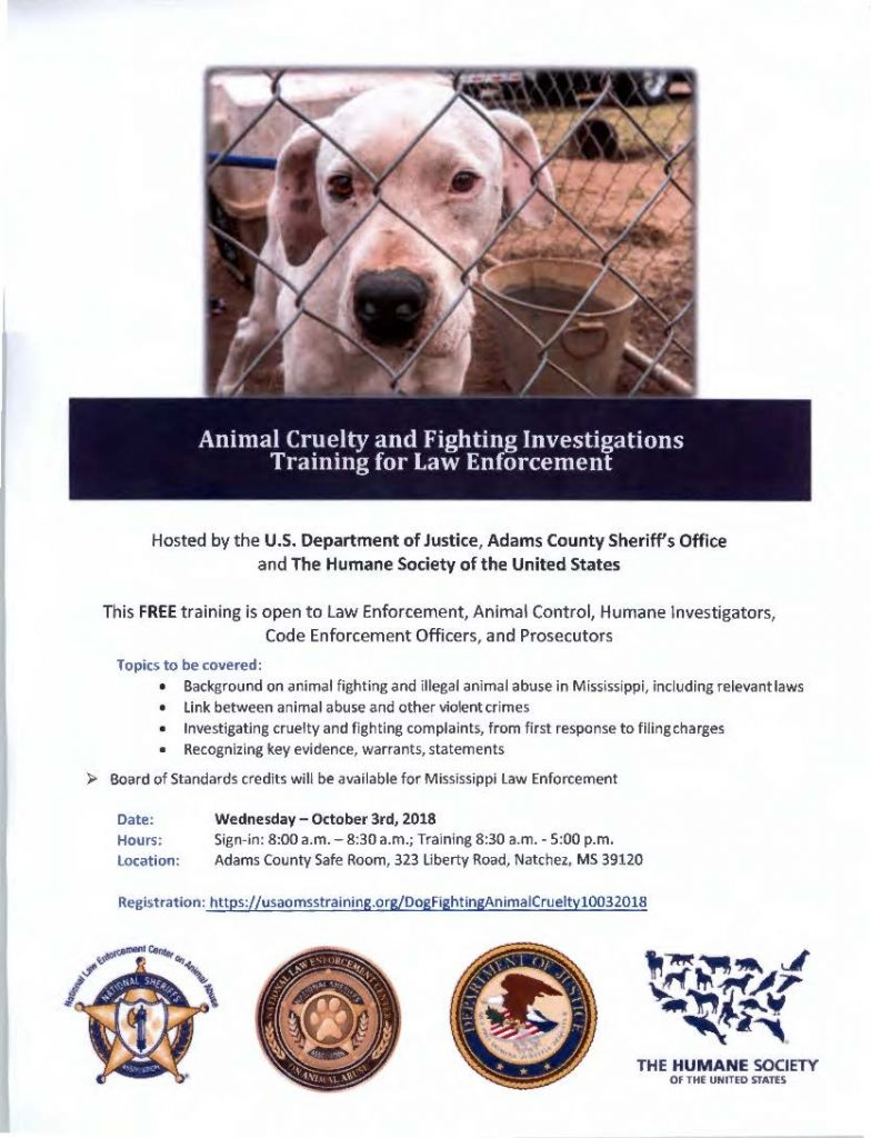 Animal Cruelty and Fighting Investigations Training – Adams